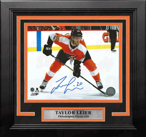 Taylor Leier Faceoff Philadelphia Flyers Autographed Framed Hockey Photo - Dynasty Sports & Framing