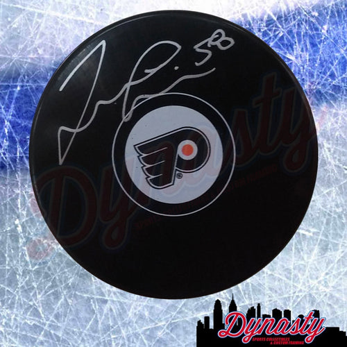 Taylor Leier Autographed Philadelphia Flyers Hockey Puck - Dynasty Sports & Framing