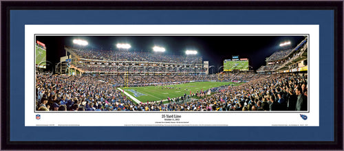 "Tennessee Titans 25 Yard Line 42"" x 18"" Framed and Matted Stadium Panorama - Dynasty Sports & Framing"