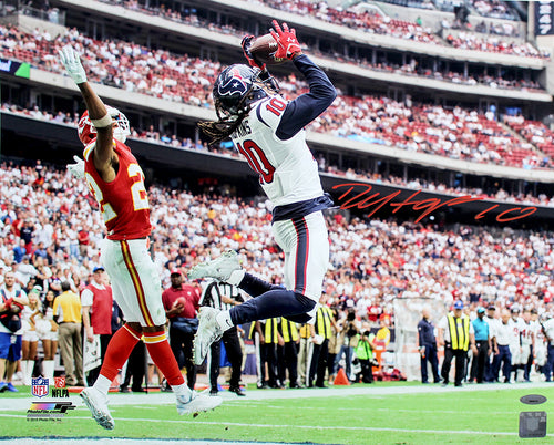 "DeAndre Hopkins Houston Texans Autographed NFL Football 16"" x 20"" Photo"