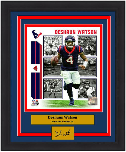 "Deshaun Watson Player Collage Houston Texans NFL Football 8"" x 10"" Framed and Matted Photo with Engraved Autograph"