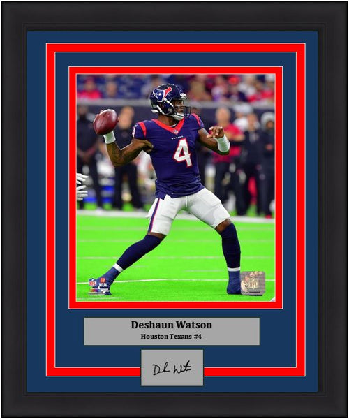 "Houston Texans Deshaun Watson Engraved Autograph NFL Football 8"" x 10"" Framed & Matted Photo (Dynasty Signature Collection)"