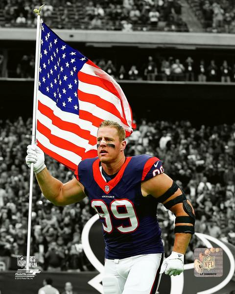 "JJ Watt Houston Texans American Flag NFL Football 8"" x 10"" Photo - Dynasty Sports & Framing"