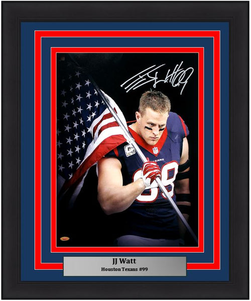 "JJ Watt Houston Texans American Flag Autographed NFL Football 16"" x 20"" Framed and Matted Photo"