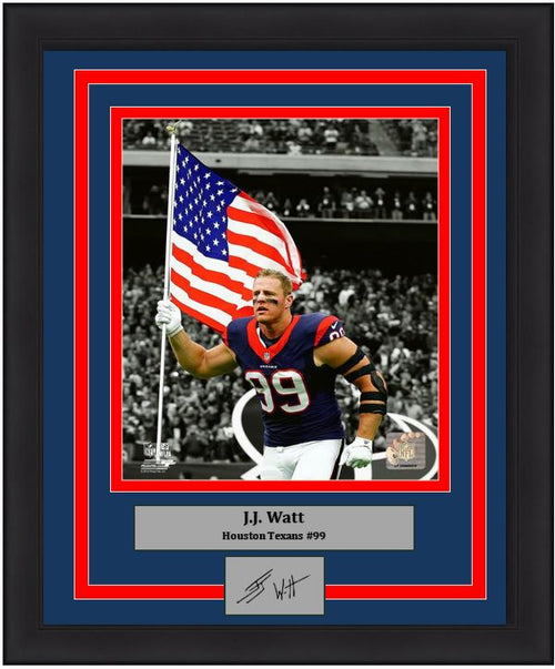JJ Watt Houston Texans American Flag 8x10 Framed Football Photo with Engraved Autograph - Dynasty Sports & Framing