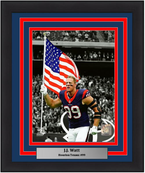 "JJ Watt Houston Texans American Flag NFL Football 8"" x 10"" Framed and Matted Photo - Dynasty Sports & Framing"