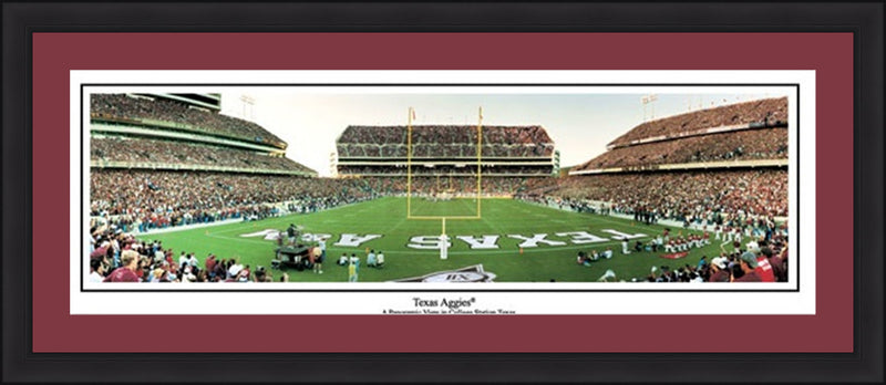 "Texas A&M Aggies Kyle Field 42"" x 18"" Framed and Matted Stadium Panorama - Dynasty Sports & Framing"