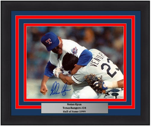 Nolan Ryan Texas Rangers Fight with Ventura Autographed MLB Baseball Framed and Matted Photo