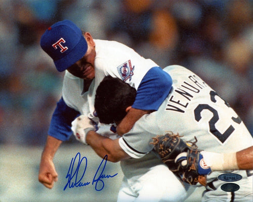 Nolan Ryan Texas Rangers Fight with Ventura Autographed MLB Baseball Photo