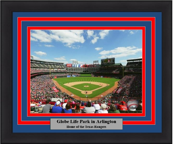 "Texas Rangers Globe Life Park at Arlington MLB Baseball 8"" x 10"" Framed and Matted Stadium Photo"