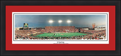 "Texas Tech Red Raiders 34 Yard Line 42"" x 18"" Framed and Matted Stadium Panorama - Dynasty Sports & Framing"