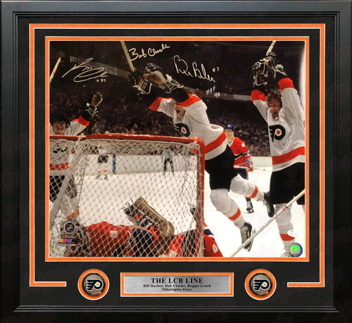 LCB Line (Bob Clarke, Bill Barber, Reggie Leach) Goal Flyers Autographed 16x20 Framed Hockey Photo - Dynasty Sports & Framing