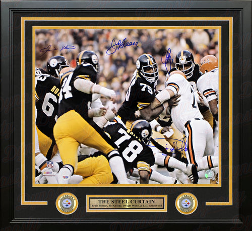 "The Steel Curtain Pittsburgh Steelers v. Bengals Autographed NFL Football 16"" x 20"" Framed Photo - Dynasty Sports & Framing"