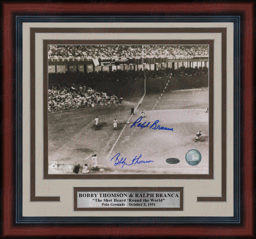 "Bobby Thomson & Ralph Branca Shot Heard Round the World Autographed 8"" x 10"" Framed Baseball Photo - Dynasty Sports & Framing"