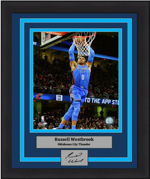 Russell Westbrook Dunk Oklahoma City Thunder 8x10 Framed Basketball Photo with Engraved Autograph - Dynasty Sports & Framing