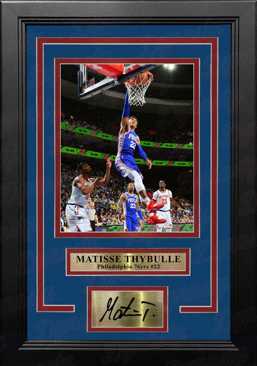 Matisse Thybulle in Action Philadelphia 76ers 8x10 Framed Basketball Photo with Engraved Autograph
