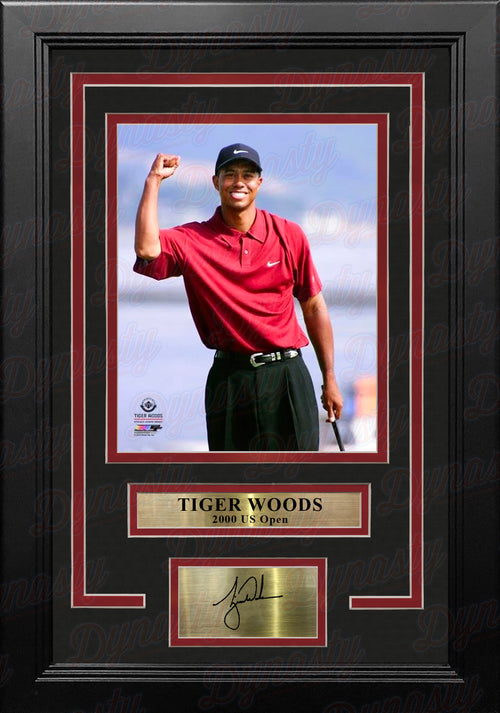 "Tiger Woods 2000 US Open 8"" x 10"" Framed Golf Photo with Engraved Autograph - Dynasty Sports & Framing"