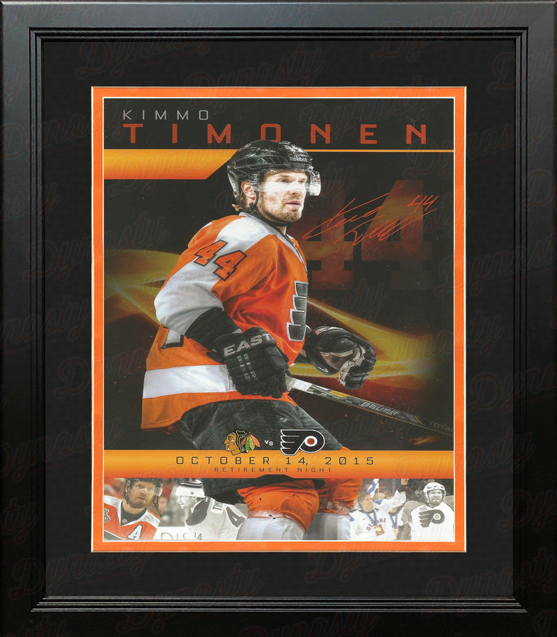 Kimmo Timonen 2015 Philadelphia Flyers Hockey Framed Retirement Night Card - Dynasty Sports & Framing