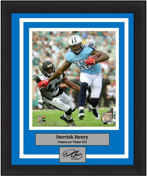 "Derrick Henry in Action Tennessee Titans 8"" x 10"" Framed Football Photo with Engraved Autograph - Dynasty Sports & Framing"
