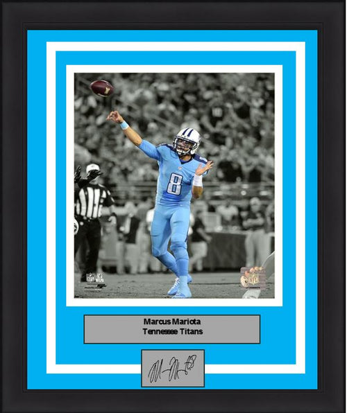 Marcus Mariota Spotlight Action Tennessee Titans 8x10 Framed Football Photo with Engraved Autograph - Dynasty Sports & Framing