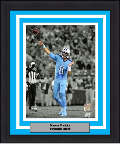 "Marcus Mariota Spotlight Action Tennessee Titans 8"" x 10"" Framed Football Photo - Dynasty Sports & Framing"