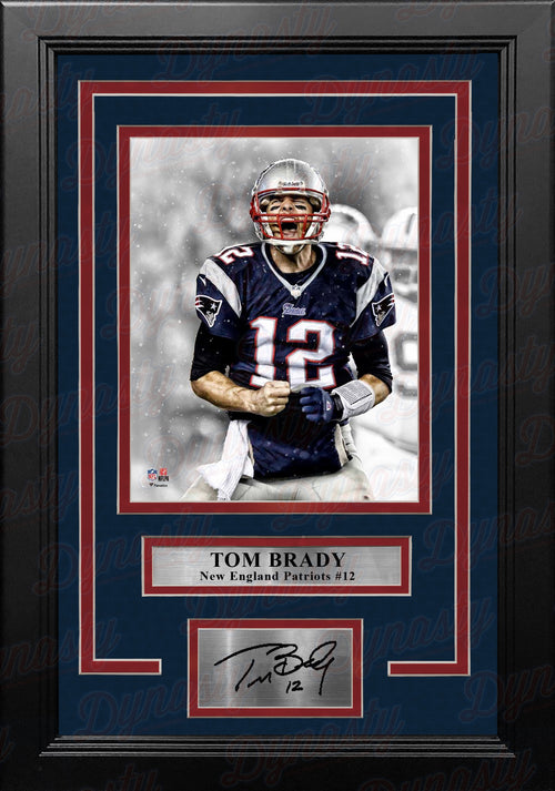 "Tom Brady Scream Spotlight New England Patriots 8"" x 10"" Framed Football Photo with Engraved Autograph - Dynasty Sports & Framing"