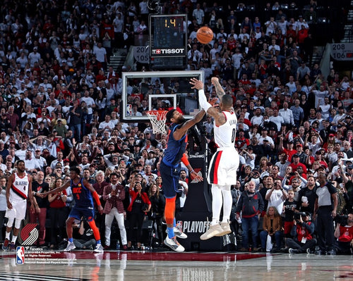"Damian Lillard Portland Trail Blazers Game-Winning 3-Point Shot v. Oklahoma City 8"" x 10"" Basketball Photo - Dynasty Sports & Framing"
