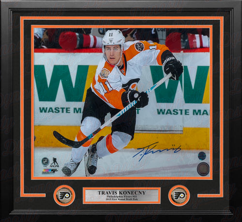 "Travis Konecny Philadelphia Flyers Skating Autographed 16"" x 20"" Framed Hockey Photo - Dynasty Sports & Framing"