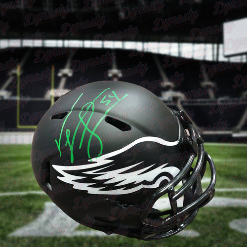Jeremiah Trotter Philadelphia Eagles Autographed Eclipse Football Mini-Helmet - Dynasty Sports & Framing