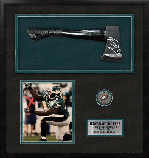 Jeremiah Trotter Philadelphia Eagles Framed and Matted Autographed Axe Collage - Dynasty Sports & Framing