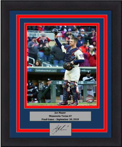 "Joe Mauer Final Game Minnesota Twins 8"" x 10"" Framed Baseball Photo with Engraved Autograph - Dynasty Sports & Framing"