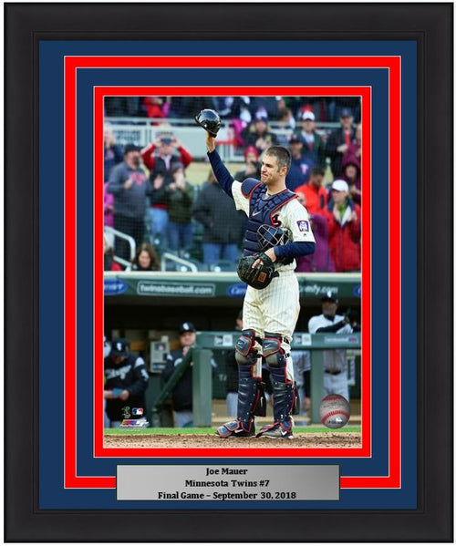 "Joe Mauer Final Game Minnesota Twins 8"" x 10"" Framed Baseball Photo - Dynasty Sports & Framing"