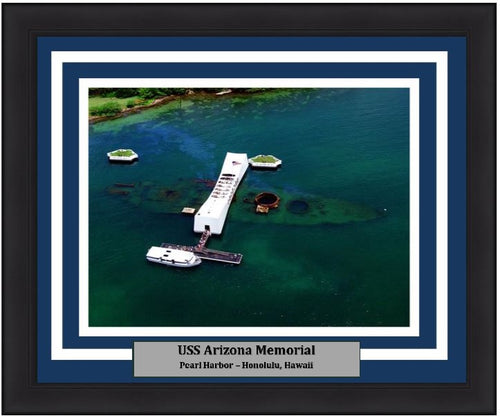 "USS Arizona Memorial at Pearl Harbor 8"" x 10"" Framed and Matted Landmark Photo - Dynasty Sports & Framing"
