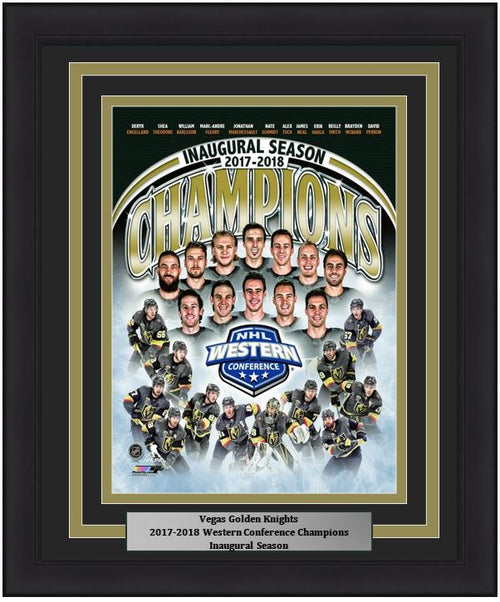 "Vegas Golden Knights 2018 Western Conference Champions Team Collage 8"" x 10"" Framed Hockey Photo - Dynasty Sports & Framing"