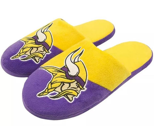 Minnesota Vikings Colorblock Big Logo Slippers - Dynasty Sports & Framing