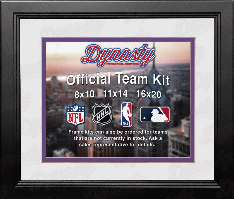 NFL Football Photo Picture Frame Kit - Minnesota Vikings (White Matting, Purple Trim) - Dynasty Sports & Framing