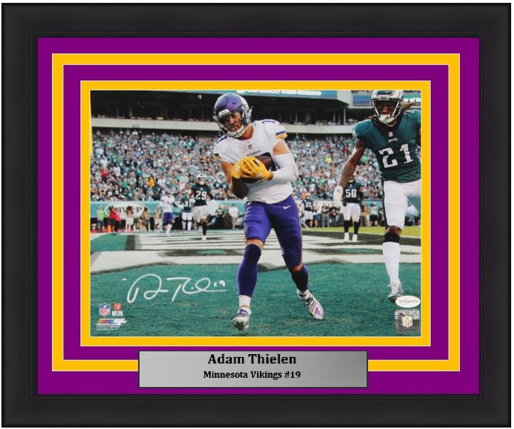 "Adam Thielen Minnesota Vikings Touchdown Catch Autographed 11"" x 14"" Framed Football Photo - Dynasty Sports & Framing"