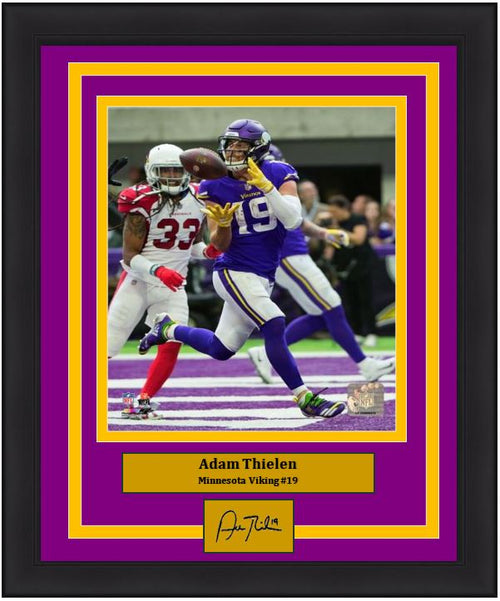 Adam Thielen Touchdown Catch Minnesota Vikings 8x10 Framed Football Photo with Engraved Autograph - Dynasty Sports & Framing