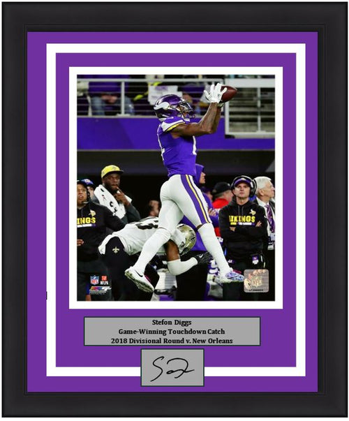 "Minnesota Vikings Stefon Diggs Game-Winning Touchdown Catch, 2018 Divisional Round Engraved Autograph NFL Football 8"" x 10"" Framed & Matted Photo (Dynasty Signature Collection)"