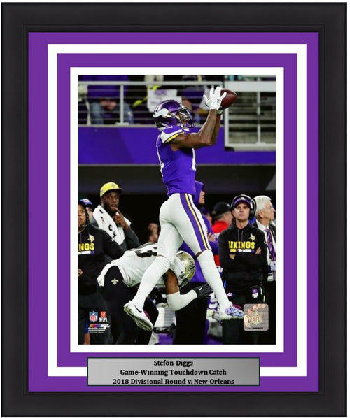 "Minnesota Vikings Stefon Diggs Game-Winning Touchdown Catch, 2018 Divisional Round NFL Football 8"" x 10"" Framed and Matted Photo"