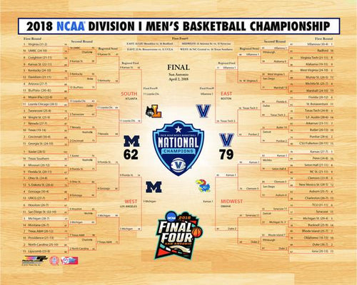"Villanova Wildcats 2018 NCAA Tournament Championship Bracket College Basketball 8"" x 10"" Photo"