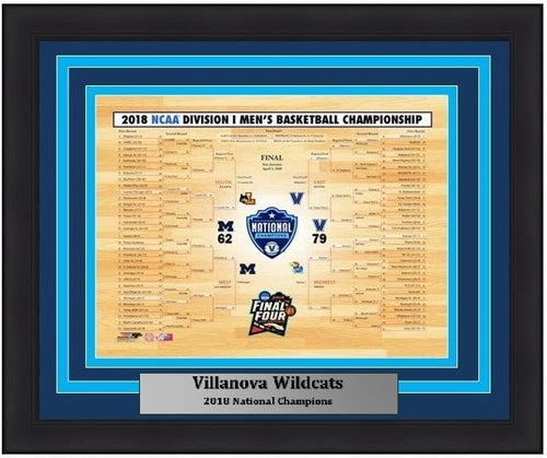 "Villanova Wildcats 2018 NCAA Tournament Championship Bracket College Basketball 8"" x 10"" Framed and Matted Photo"