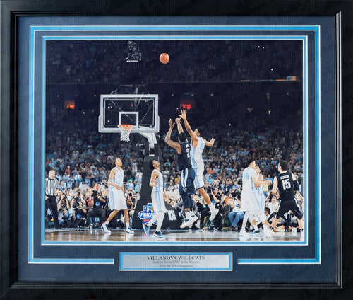 Villanova Wildcats 2016 NCAA Finals Kris Jenkins Buzzer Beater Basketball Framed and Matted Photo (Horizontal) - Dynasty Sports & Framing