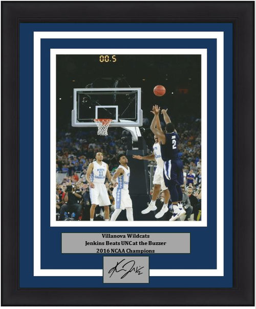 Kris Jenkins Villanova Wildcats Finals Buzzer Beater Framed Vertical Photo with Engraved Autograph - Dynasty Sports & Framing