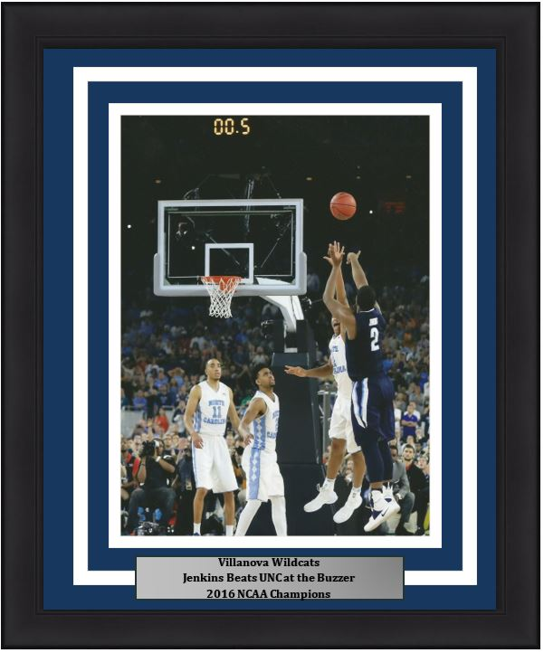 Villanova Wildcats 2016 NCAA Finals Kris Jenkins Buzzer Beater Basketball Framed and Matted Photo (Vertical)