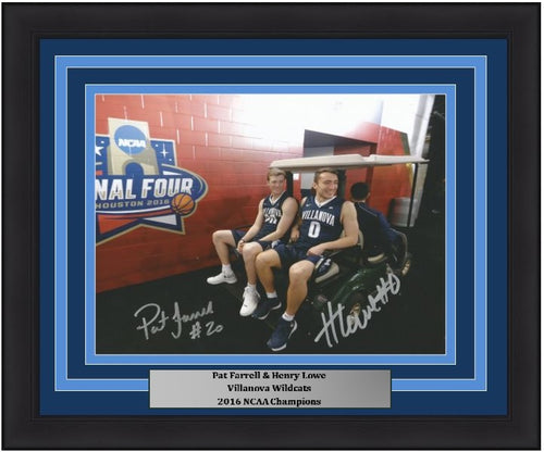 "Pat Farrell & Henry Lowe Villanova Wildcats 2016 NCAA Final Four Autographed College Basketball 8"" x 10"" Framed and Matted Photo"