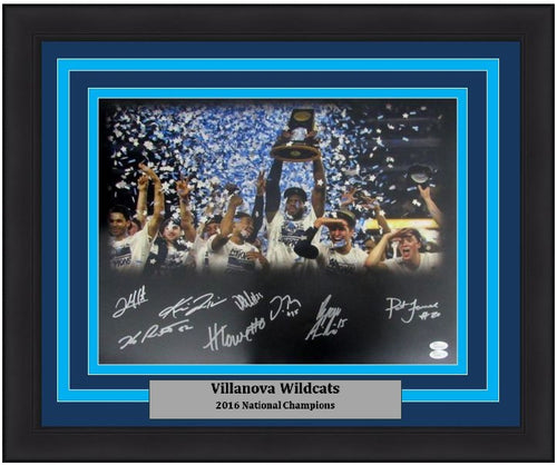 "Villanova Wildcats 2016 NCAA Championship Celebration 16"" x 20"" Framed Photo with 8 Autographs - Dynasty Sports & Framing"