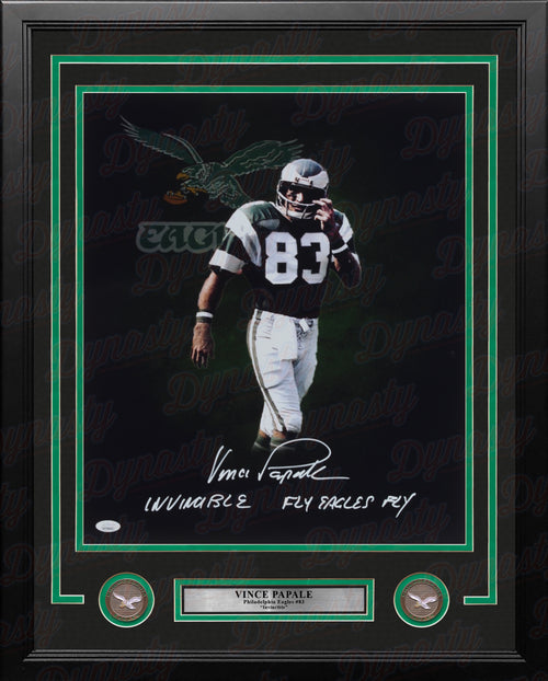 "Vince Papale Blackout Philadelphia Eagles Autographed 16"" x 20"" Framed Football Photo - Dynasty Sports & Framing"