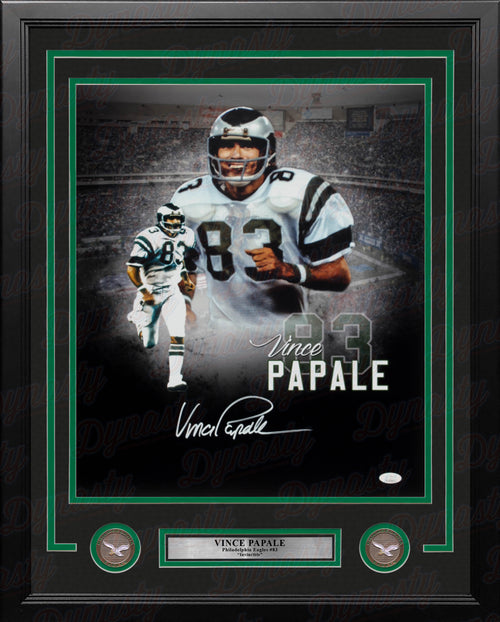 "Vince Papale Collage Philadelphia Eagles Autographed 16"" x 20"" Framed Football Photo - Dynasty Sports & Framing"
