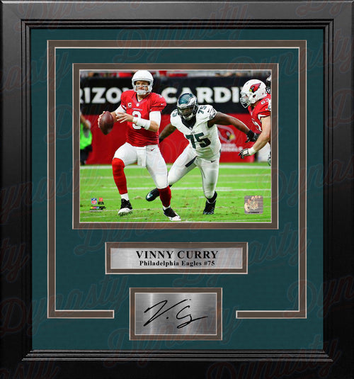 Vinny Curry in Action Philadelphia Eagles Framed Football Photo with Engraved Autograph - Dynasty Sports & Framing